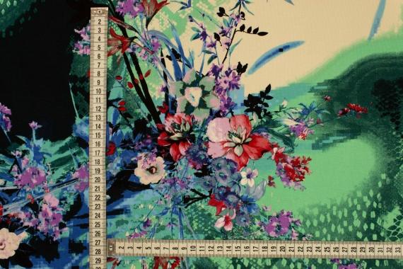Трикотаж принт цветы и питон 027