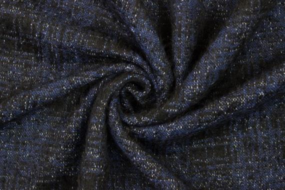 Костюмно- пальтовая клетка синяя 010