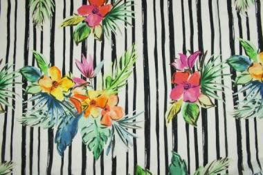 Батист принт полосы и цветы 13585
